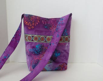 Batik Hipster bag - Gypsy Boho Bag - Purple blue bag
