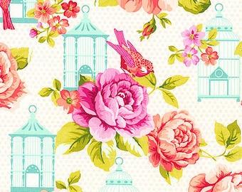 Bird Shower Curtain, Birdcage Shower Curtain, Floral Shower Curtain, Aqua Pink Bathroom Decor, Rose Shower Curtain, Songbirds