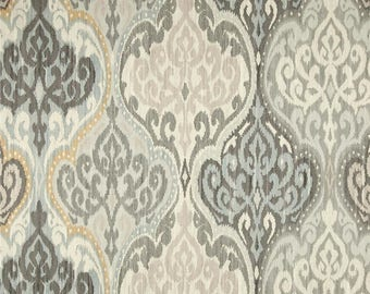 """Neutral Curtain Panels, Modern Damask Drapes, Trendy Moroccan Window Curtains, Grey, Light Blue Curtains, Rod-Pocket, One Pair 50""""W"""