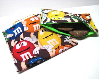 2 PC Reusable Sandwich and Snack Bag Set Ecofriendly Lunch Kit M&M Candy Guys Back to School Boys or Girls School Lunch Bag