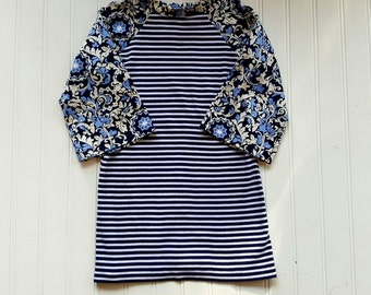 Size 3T Upcycled T Shirt dress. Blue Flowers and Stripes