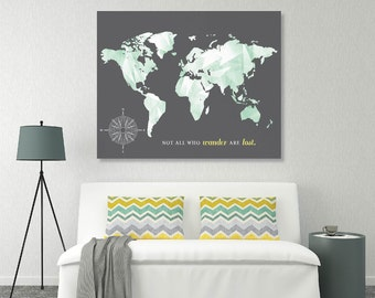 Custom Canvas Map, World Custom Push Pin Map, Custom World Map Art Print, Custom Push Pin World Map, Custom Map //H-I13-1PS AA5 OP22