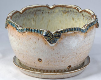 Berry Bowl in Chowder (Cream) and Blue - Ceramic Colander - Stoneware Pottery