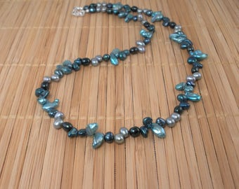 Long Teal Pearl Necklace Teal Aqua Pearls Long Pearl Necklace Freshwater Pearl 20 inch Necklace Blue Green Pearl Necklace 3 Shades of Teal