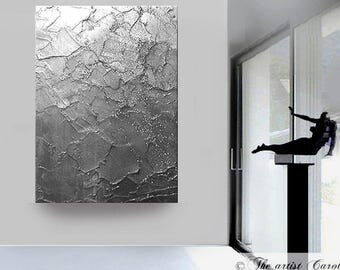 Original large ABSTRACT PAINTING palette knife metallic acrylic textured silver contemporary by designer artist Carol Lee