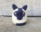 OOAK Needle felted Siamese Cat Toy Shelf Sitter Ready to Ship