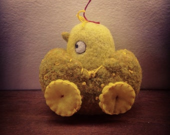 OOAK Felted Wool Chick in Egg Car