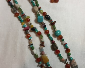 Natural stone Necklace-Jasper, Turquoise, amethyst, carnelian-free shipping USA