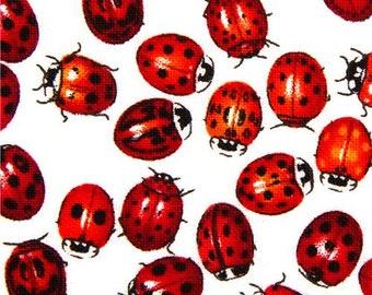 169016 white mini ladybirds fabric Timeless Treasures