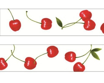 210692 white with red cherry fruit Washi Masking Tape deco tape Shinzi Katoh