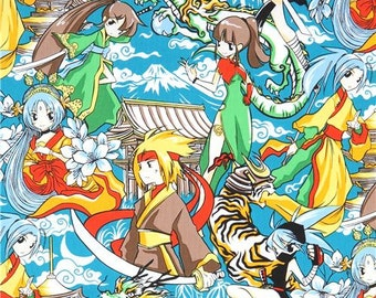 213923 teal beautiful character anime fabric Manga fabric by Trans-Pacific Textiles