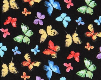 214380 black Michael Miller fabric colorful butterflies Butterfly Free