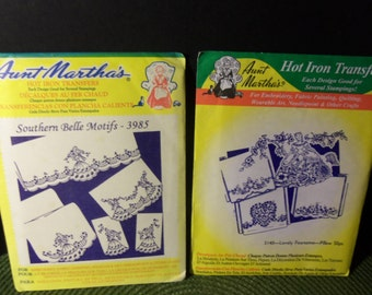 Aunt Martha's Lovely Foursome Pillow Slips 3140 &  Southern Belle Motifs # 3985 Hot Iron Transfers