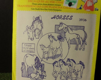 Vintage Aunt Martha's Hot Iron Transfer 3936 Horses