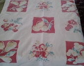 Vintage Shabby Chic Retro Kitchen Cotton Square Tablecloth Fabric Red and White Fruit Curtain Valance