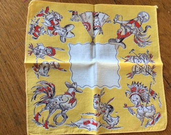 Child hanky/handkerchief cowboy and indian