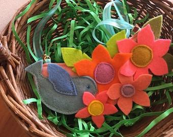Flower Bouquet Necklace / Boho Necklace / Felt Bird Necklace, Easter Outfit, Easter Basket Accessory
