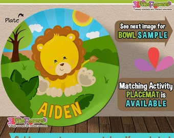 Baby Lion Plate and Bowl Set - Personalized Plastic Children Plate Cereal Bowl - Kids Dishes for Mealtime - Jungle Plate and Bowl Set