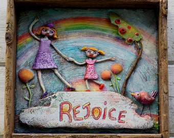 Rejoice! Three dimensional art in shadow box, OOAK, beach art assemblage, inspirational, Sisters