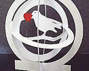 Bird Pop Up Card Globe -design2 -Red  heart Item 7854R