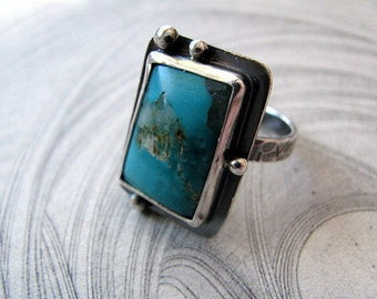 Sterling Silver Turquoise Ring, Handmade Sterling Silver Jewelry, Ring Size 7.25