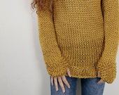 Hand knit woman cotton sweater long pullover sweater mustard