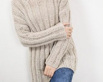 Hand knit oversize sweater wool woman sweater long sweater wheat pullover sweater