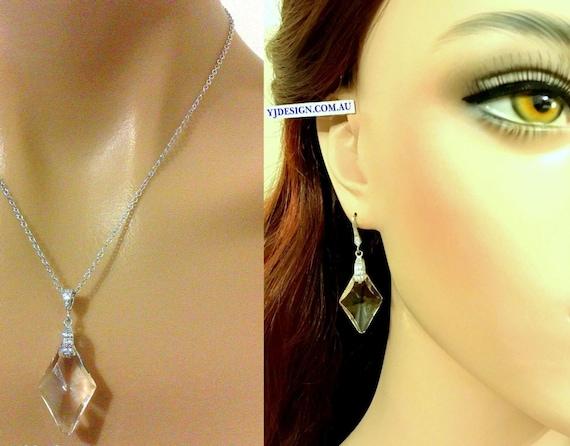Diamond Shape Bridal Jewelry Set, Geometric Necklace, Art Deco Bridal Earrings, Crystal Bridal Necklace, Swarovski Wedding Jewelry, ADAMAS