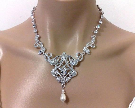 Statement Bridal Necklace, Swarovski Crystal Wedding Necklace, Victorian Wedding Jewelry, Art Deco Bridal Jewelry, Gatsby Necklace, CARMEN