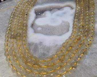 50% Mega Sale 8mm Gold Rutile Quartz Round Gemstone Beads