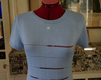 André Courrèges knit sweater dress short sleeves blue hemstitched cutwork