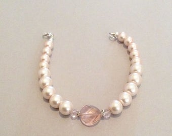 Peach Rose Pears and crystal bracelet