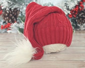 3 to 12 month Santa hat // Christmas hat // holiday photo prop // baby photography // baby hat // up cycle // ready to ship // stocking