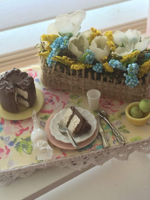 Miniature Spring Flowers and Chocolate Frosted Vanilla Cake Prep Board-1:12 scale
