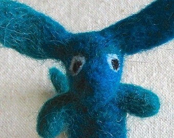 Beastie or monster, fantasy creature needle felted from wool, marbled teal