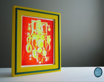 CAMEOS #012 | comic silhouettes in fluorescent yellow and neon orange, a unique handpulled screenprint by Kathryn DiLego (8x10)