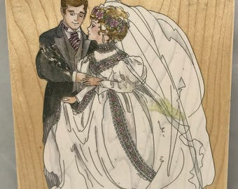 Stamps Happen Bride And Groom #90038 Wood Mounted Stamp
