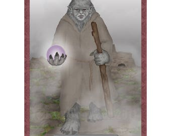 The Hermit Cryptozoology Tarot Card Print