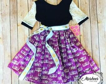 Knit top Purple Black and Cream and Gold Chandelier Dress- Winter Dress, Handmade Dress, Girls Dresses, Mustard Yellow Dress, Autumn Dress