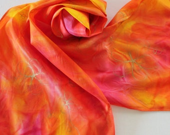 SALE Hand Painted Silk Scarf - Handpainted Scarves Orange Yellow Pink Bright Gold Flowers Floral