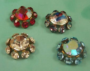 16MM Round settings with Rhinestones. Mix Lot ,4