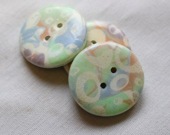 Large Handcrafted Buttons,  Purple and Blue 1 1/4 inch Button No. 369