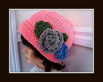 HAT KNITTING PATTERN - Phoebe- Adult hat pattern for beginners, number 564, knitted flower, rose