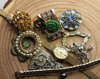 Vintage JUNK JEWELRY Lot- Rhinestone Pearls- Brooch Watch Earrings Embellishments- Jewelry Lot- C