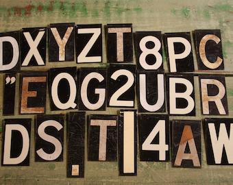 Vintage Metal Sign Letters (24) Industrial Decor- Black & White Alphabet Letter and Number- Random Selection