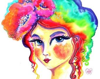 Rainbow print, Rainbow Girl, Portrait of a Girl, Princess, Goddess, bedroom wall art
