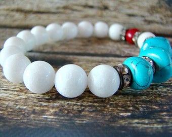 Gemstone Bracelet, Beaded Bracelet, Turquoise Bracelet, White Bead Bracelet, Red Bracelet, Stretch Bracelet, Boho Bracelet, Womens Bracelet