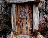 Fairy Door with Driftwood, Miniature Fairy House Door, Fairy Garden, Rustic Fairy door handmade with natural wood and forest finds