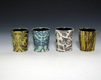 White and Black Shot Glass with Damask Pattern