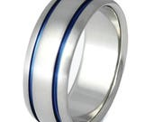 Custom Blue Titanium Ring with Blue Sapphire - Blue Ring - Mens Band - Women's Band - Custom b10 with Blue Sapphire